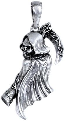 Grim Reaper Anhänger mit Kette aus Zinn Schmuck Totenschädel