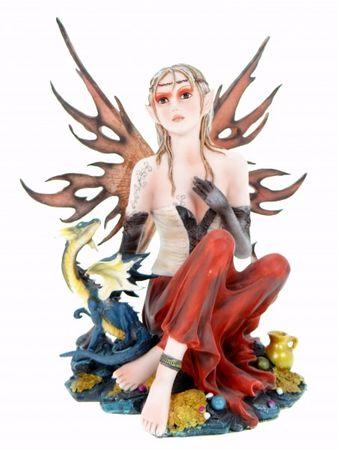 Glückselfe Dragolda sitzt auf Goldschatz Fee Fairy Figur TOP Qualität – Bild 1