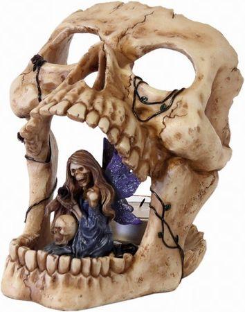 Totenkopf mit Skelett Elfe & Teelicht totenschädel Skull Figur TOP