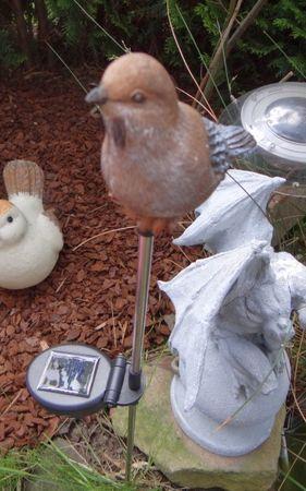 Solar LED Vogel Braun Solarleuchte Figur Garten