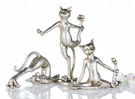 3er Set Figur Cat-Aerobic Figur Katze Sport