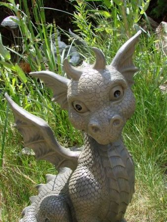 XXL Gartendrache sitzend Drache Figur Garten Gartenfigur 41 cm Gargoyle – Bild 2
