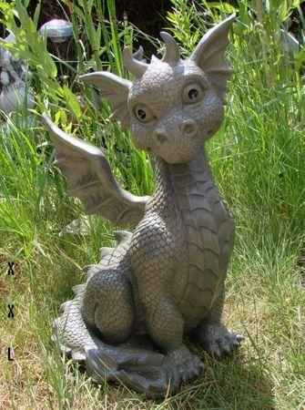 XXL Gartendrache sitzend Drache Figur Garten Gartenfigur 41 cm Gargoyle – Bild 1
