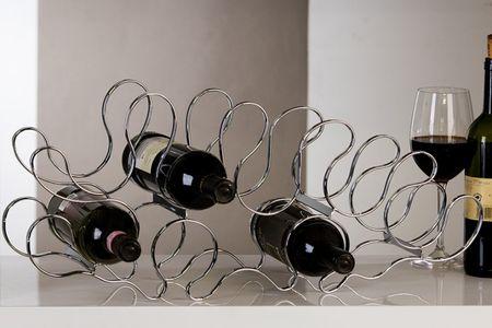 Edler Weinflaschenständer verchromt für 8 Weinflaschen Wein Halter