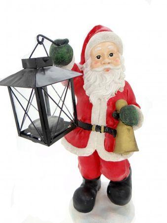 Weihnachtsmann mit Laterne Weihnachten Figur Santa Rot