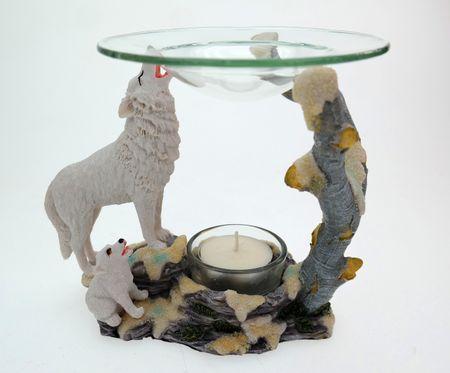 Weisser Wolf Duftlampe Aromalampe Figur TOP Tierfigur Teelicht – Bild 2