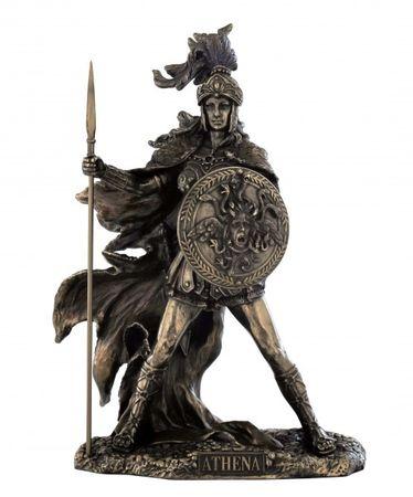 Athene griechiche Göttin des Krieges mit Speer/Schild  Figur bronz/Col.