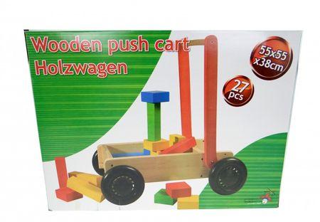 Lauflernwagen Holzwagen mit Holzbausteinen Holzklötze Baby