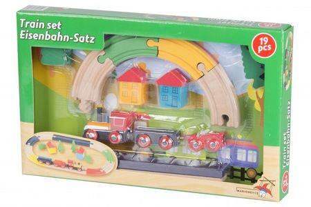 19 teilges Kinder Spielset Holz Eisenbahn Lokomotive Zug