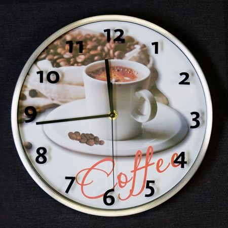 Uhr Coffee aus Aluminium / Glas rund Wanduhr