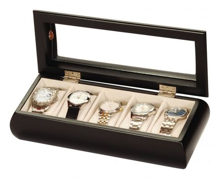 Uhrenbox Alexandro Holz Uhrenschatulle Vitrine Uhr schwarz – Bild 1