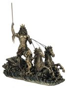 Griechischer Gott Poseidon auf Seepferd-Kutsche Figur bronziert Skulptur Pferd 001