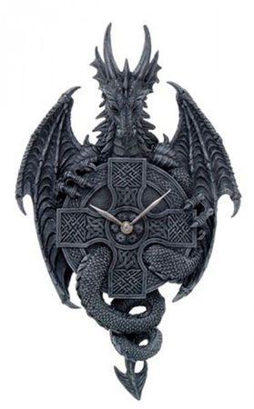 Prachtvolle Wanduhr Drache mit gespr. Schwingen Dragon Gothic Uhr