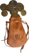 Denix Lederbeutel mit 8 Münzen Leder Beutel Pirat Schatz 001