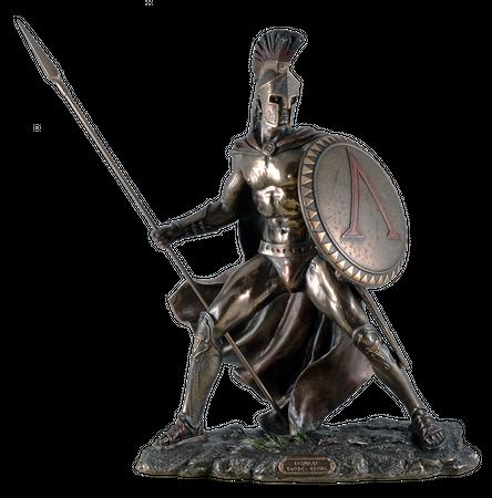 Leonidas mit Schild und Speer Figur Feldherr Spartaner bronziert – Bild 1