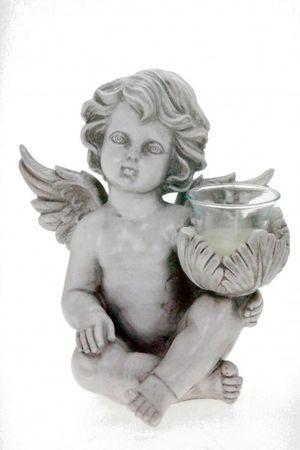 Grabengel Teelichthalter rechts Engel A Figur Skulptur Teelicht