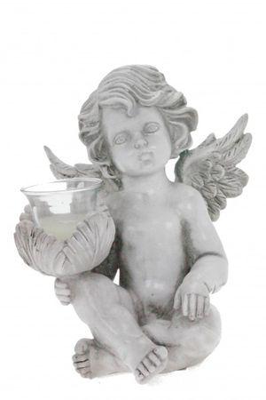 Grabengel Teelichthalter links Engel B Figur Skulptur Teelicht