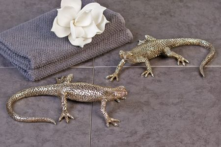 2er Figuren Set Gecko Billy und Berni Antik-Silber Skulptur Figur Bad