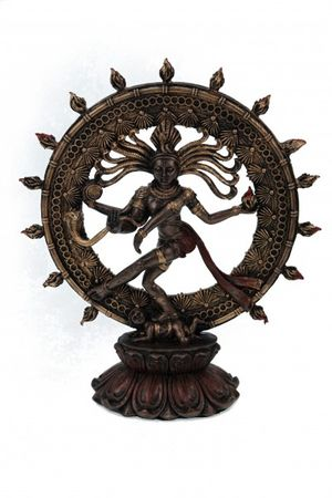 Shiva tanzend auf Apasmara Hinduismus Nataraja Bronzefarben Figur Feng Shui