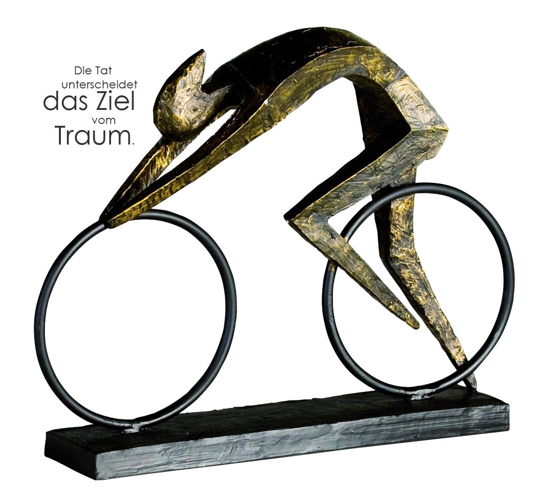 Skulptur Race bronzefarben Figur Deko Fahrrad Rennrad ...