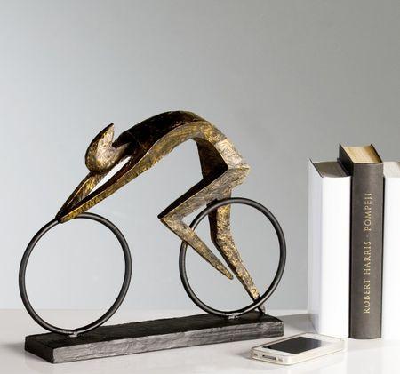 Skulptur Race bronzefarben Figur Deko Fahrrad Rennrad – Bild 2