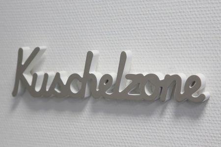 Schriftzug - Kuschelzone - Holz grau /weiß Deko Wandtattoo