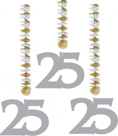 3 tlg. Silberhhochzeits Hänge Spirale 25 hochzeit Deko Feier