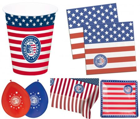 Großes Amerika Party Set Teller Becher Serviette Ballon Tischdecke Deko