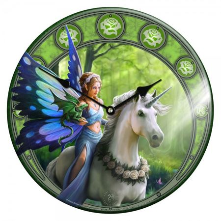 Glas Wanduhr Clock Realm of Enchantment 34 cm Fee Einhorn Figur Uhr