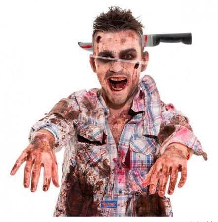 Blutiges Dekomesser zum aufsetzen Party Halloween Karneval Tiara
