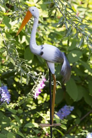 Gartenstecker Storch Ferdinand aus Metall 170 cm Figur Garten TOP