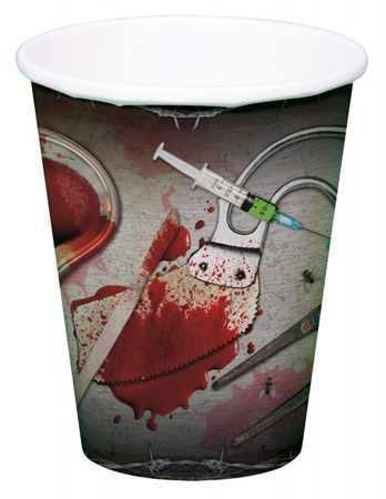 8 Stk. Halloween Party Blut Becher 250 ml Deko Teller Grillen