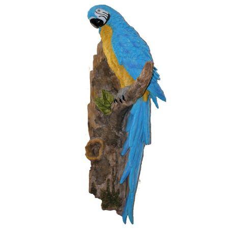 Großer Papagei am Stamm 51 cm blau Figur Garten Tier TOP