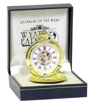 Runde Western Taschenuhr Wyatt Earp in Geschenkbox Uhr