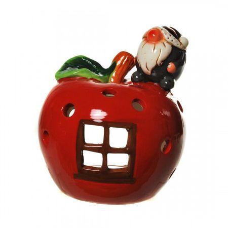 Windlicht Apfel mit Wichtel Winter Weihnachten Kobold Gnom