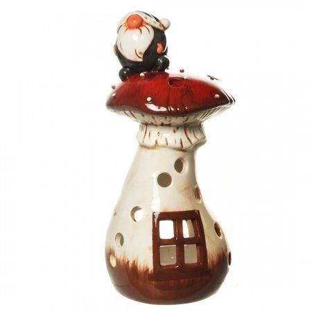 Windlicht Pilz Haus mit Wichtel drauf Winter Weihnachten Kobold Gnom