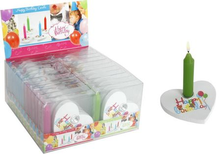 "1 Stk. Geburtstag Herz mit grüner Kerze Happy Birthday""in PVC Box Party Deko"