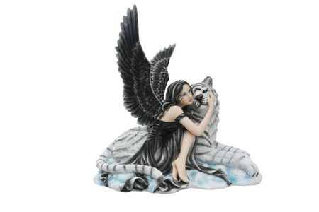 Dark Angel Tigerada kuschelt mit Tiger Fee Figur Elfe Fairy Engel