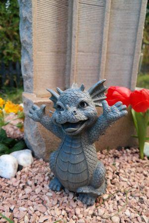 "Gartendrache "" Hallo "" Drache Figur Garten Gartenfigur TOP – Bild 1"
