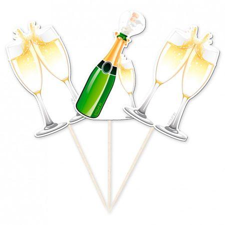 10 Stk Hochzeit Piker Deko Zahnstocher Champagnerflaschen + Sektglas