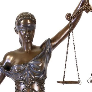 Große Justitia Figur bronziert Skulptur 45 cm Göttin der Gerechtigkeit Anwalt BGB – Bild 2