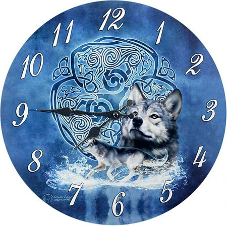 Wanduhr Wolf by Ruth Thompson 2016 Tier Uhr