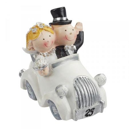 Hochzeitspaar Silberhochzeit 25 Jahre Paar im Auto Deko Tortendeko 5,5 cm Hochzeit