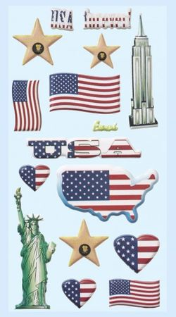 1 Bogen weiche Softy Sticker USA  3D Look Amerika Aufkleber