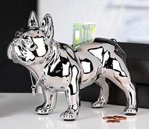 Spardose Bulli Bulldoge silber stehend Hund Figur Sparschwein