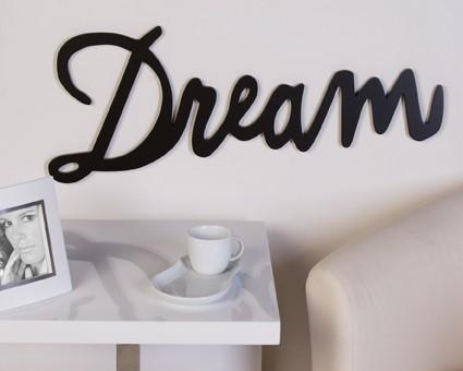 XXL Schriftzug - Dream  77 cm Holz Braun Deko Wandtattoo