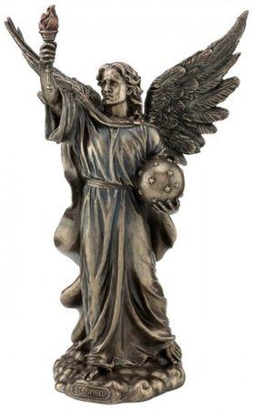 Erzengel St.Jophiel mit Fackel und Sternenball bronziert Figur Skulptur Engel