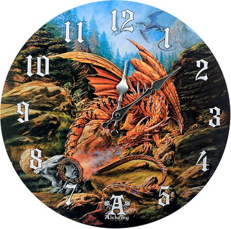 Uhr Dragons of the Runering by Alchemy 34 cm Drache Figur Wanduhr Dragon