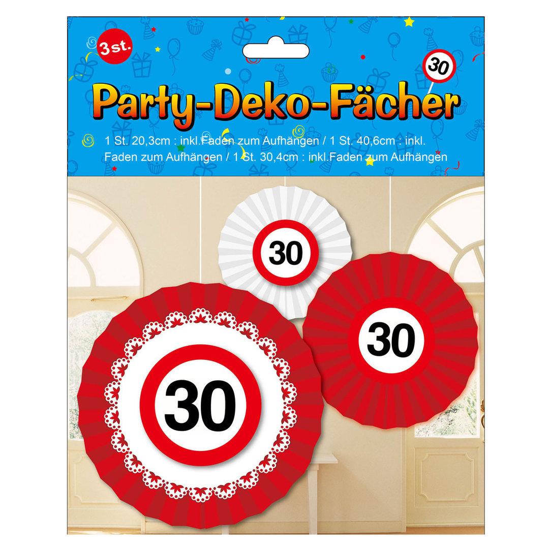 3 Teiliges Geburtstags Party Fächer Set 30 Jahre Girlande