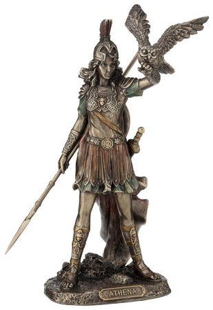 Athene griechiche Göttin des Krieges mit Speer und Eule Figur bronz/Col.